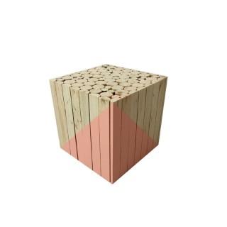Tabouret carré en bois - 30 x 30 cm - Corail