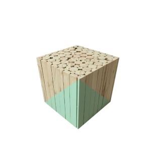 Tabouret carré en bois - 30 x 30 cm - Vert d'eau