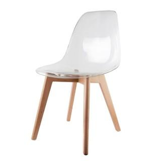 Chaise scandinave transparente - H. 86 cm - Blanc