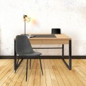 Bureau industriel - 100 x 50 cm - Noir et marron