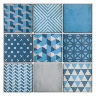 Sticker carrelage Scandinave - 9C X 2 - Bleu