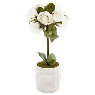 Composition de roses Pot rond - H. 33 cm - Vert