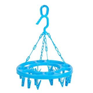 Séchoir à linge rond à suspendre - 18 Pinces - Bleu