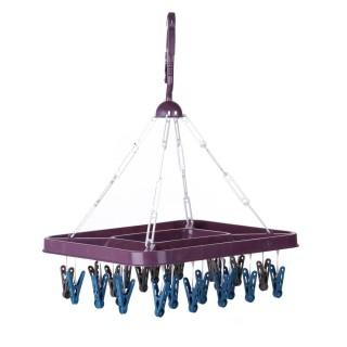 Séchoir pour sous-vêtements rectangulaire à suspendre - 24 Pinces - Violet