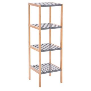 Etagère de salle de bain en bambou 4 niveaux - H. 110 cm - Gris