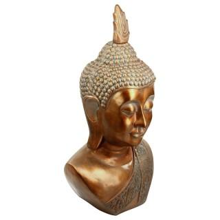 Statue tête de Bouddha - H. 113 cm - Cuivre