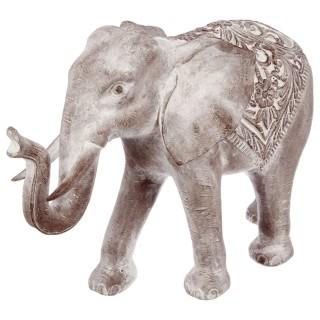 Statue Eléphant en résine - H. 46 cm - Marron effet blanchi