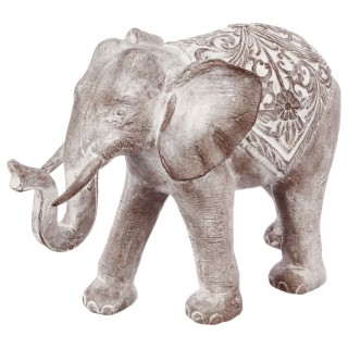 Statue Eléphant en résine - H. 30 cm - Marron effet blanchi