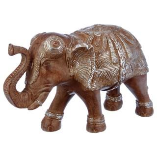 Statue Eléphant en résine - H. 19 cm - Marron effet argenté