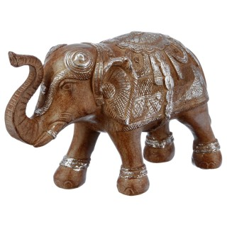Statue Eléphant en résine - H. 15 cm - Marron effet argenté
