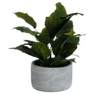 Plante artificielle avec pot en ciment - 16 x 35 cm - Vert