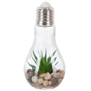 Décoration lumineuse Plante en ampoule - H. 18,5 cm - Feuilles pointues