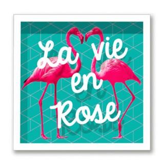 Cadre imprimé flamands roses Double - 30 x 30 cm - La vie en rose