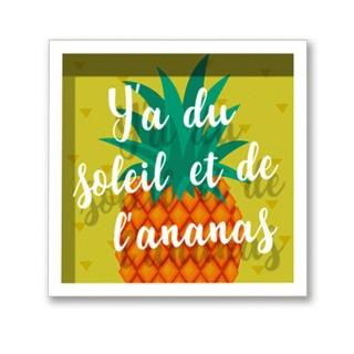 Cadre imprimé ananas Double - 30 x 30 cm - Soleil et Ananas