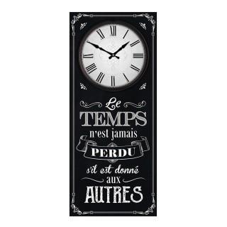 Pendule murale rectangulaire Le temps et les autres - 30 x 70 cm - Noir
