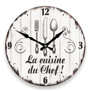Pendule murale ronde La cuisine du Chef - Diam. 27 cm - Blanc