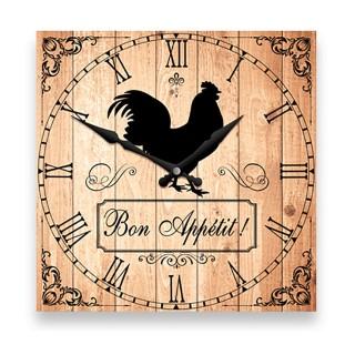 Pendule murale carrée Bon appétit- Diam. 27 cm - Marron