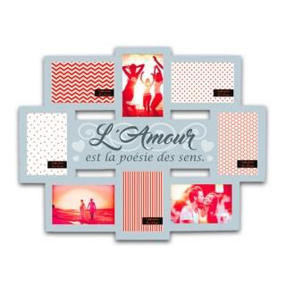 Pêle-mêle 8 Photos L'amour - 55 x 44 cm - Gris
