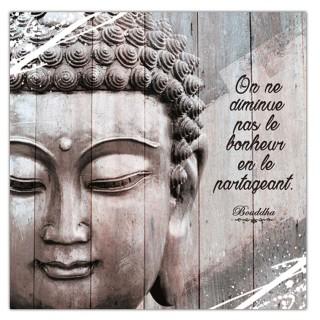 Cadre Bouddha - 40 x 40 cm - Le bonheur en le partageant