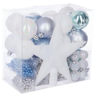 Kit déco pour sapin de Noël - 44 Pièces - Bleu, blanc et gris