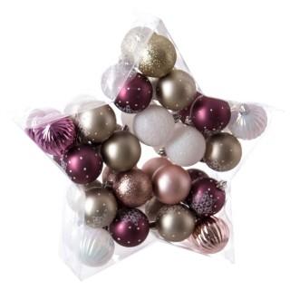 Kit déco pour sapin de Noël - 40 Pièces - Violet, blanc et or