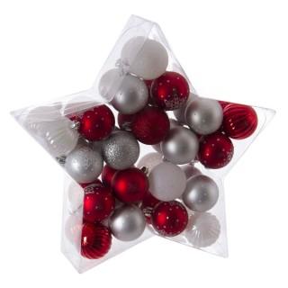 Kit déco pour sapin de Noël - 40 Pièces - Rouge, gris et blanc