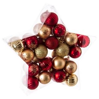 Kit déco pour sapin de Noël - 40 Pièces - Rouge et or
