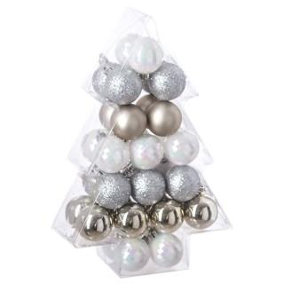 Kit déco pour sapin de Noël - 34 Pièces - Argent, blanc et or