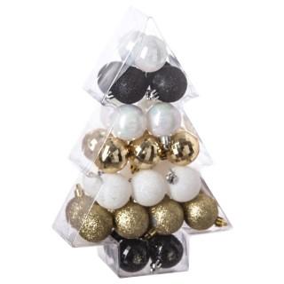 Kit déco pour sapin de Noël - 34 Pièces - Noir, blanc et or