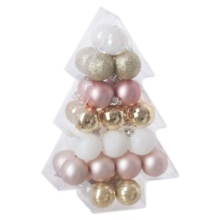Kit déco pour sapin de Noël - 34 Pièces - Rose, blanc et or