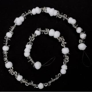 Guirlande de Noël Boule et Perles - 120 cm - Blanc