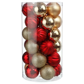 Kit déco pour sapin de Noël - 30 Pièces - Or et rouge