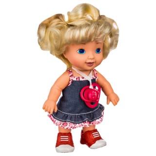 Poupée bébé avec tétine Louna - H. 36 cm - Blonde robe en jean