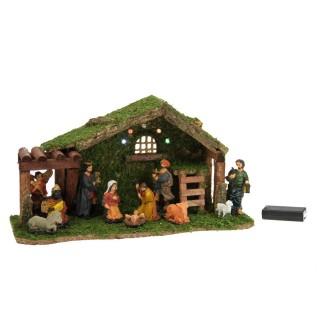 Crèche de Noël à LED - 11 Santons - 38 x 20,5 cm