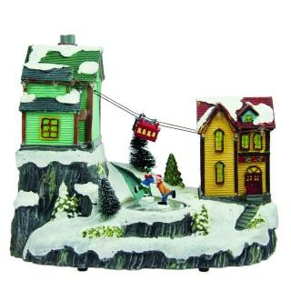 Village de Noël lumineux animé - 28 x 25 cm - Village