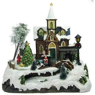 Village de Noël lumineux animé - 28 x 27 cm - Eglise et sapin