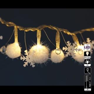 Guirlande lumineuse Noël - L. 95 cm - Boule flocon