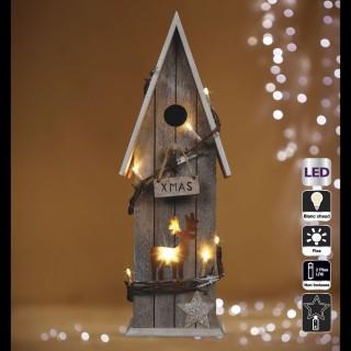 Chalet lumineux Noël - 15 x 11 x 43 - Marron