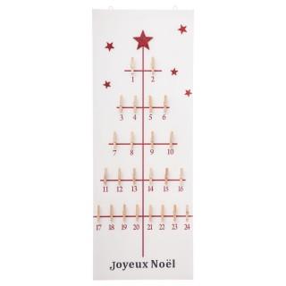 Calendrier de l'Avent avec pinces - 30 x 80 cm - Rouge et blanc