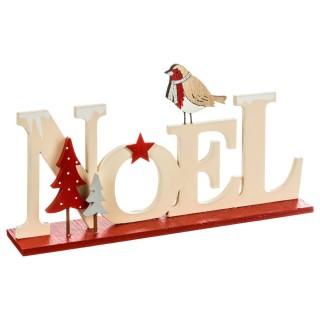 Décoration lettres Noël - 22 x 4 x 11 cm - Beige et rouge
