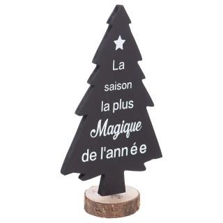 Sapin de Noël base rotin - 13 x 7 x 23 cm - Noir