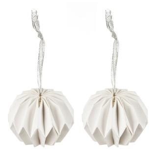 2 Boules de Noël Toupie Origami - Diam. 7,5 cm - Blanc