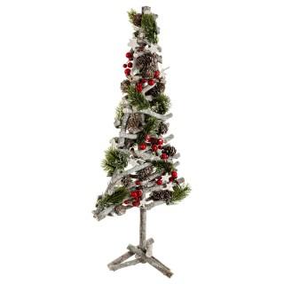 Sapin de Noël avec pieds en branches - 23 x 60 cm - Vert