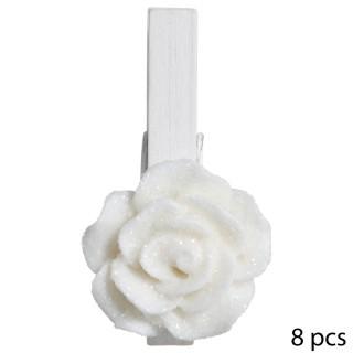 8 Pinces déco Noël Rose - H. 5 cm - Blanc