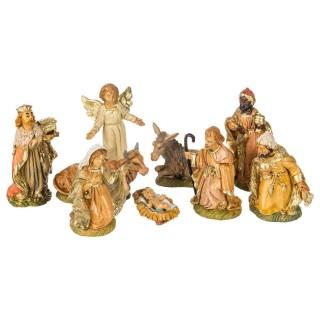 9 Santons pour crèche de Noël - H. 10 cm - Multicolore