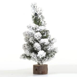 Sapin de Noël déco de table Alpine - 16 x 30 cm - Vert