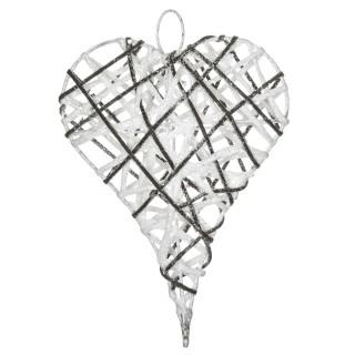 Cœur de Noël pailleté à suspendre - 15 x 20 cm - Blanc