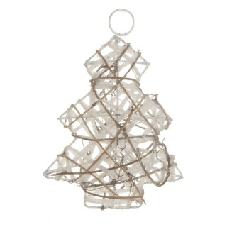 Sapin de Noël pailleté à suspendre - 13 x 15 cm - Blanc