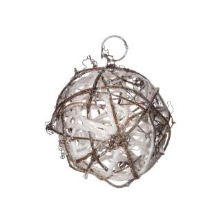 Boule de Noël pailletée à suspendre - Diam. 10 cm - Blanc