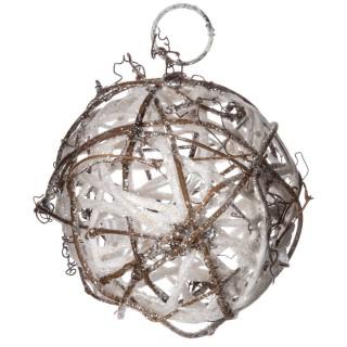 Boule de Noël pailletée à suspendre - Diam. 7,5 cm - Blanc